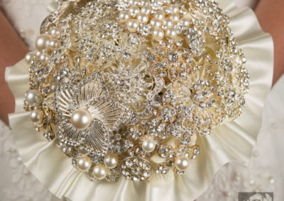 Austrian Crystal and Pearl Brooch Bouquet
