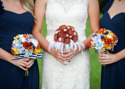 Fall Colored Brooch Bouquet with Feather Collar