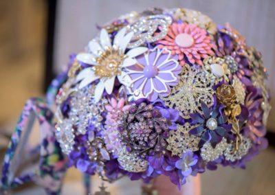 Vintage Purple & Pink Enamel Flower Brooch Bouquet