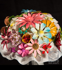 Vintage Enamel Flower Brooches