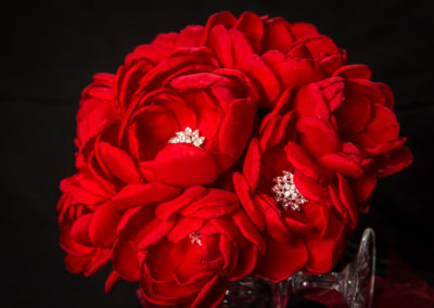 Hand-Made Red Silk Peony Bouquet with Crystal Centers