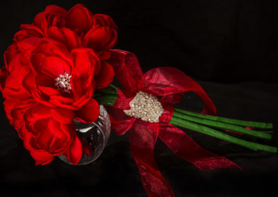 Hand-Made Red Silk Peonies with Crystal Brooches