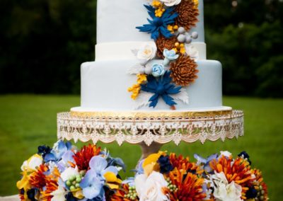 Silk Fall Bouquets in Blue, Brown, Rust, Mustard and Ivory