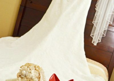 Vintage Lace, Rustic Wood Flowers and Pearl Accented Brooch Bouquet