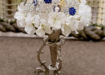 Austrian Crystal, Pearl, Silver and Gold Brooch Bouquet with Sapphire Jeweled Accents