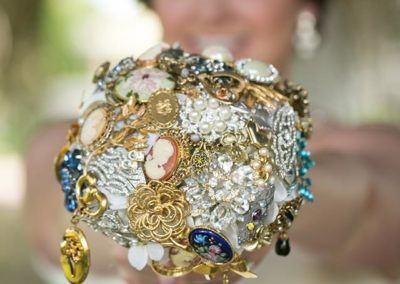 Brooch Bouquet with Photo/Memory Lockets
