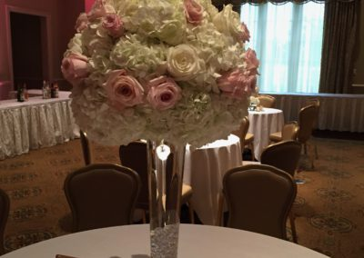 White Hydrangea and Pink Rose Centerpiece