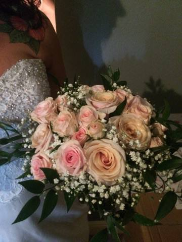 Pale Pink and Coral Rose Bouquet