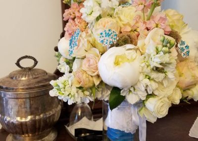 Peony, Rose,Hydrangea Stock, Dusty Miller Bouquet with Teal Brooch Accents