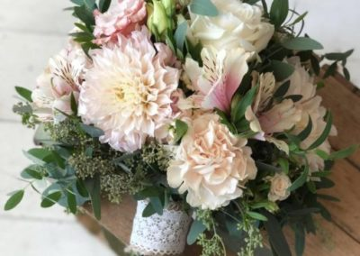 Beautiful Dahlia, Alstroemeria, Rose and Seeded Eucalyptus Mixture