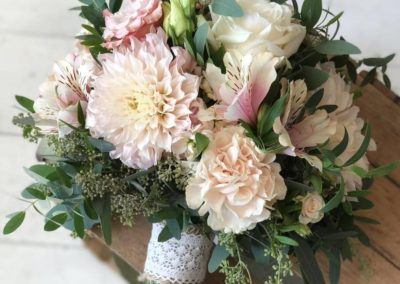 Mixed Dahlia, Rose, Carnation, Alstromeria and Seeded Eucalyptus Fresh Flower Bouquet